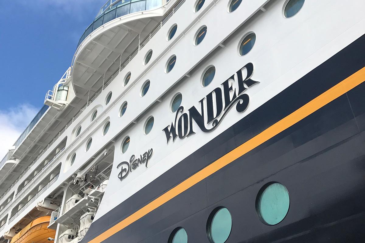Side of the Disney Wonder cruise ship