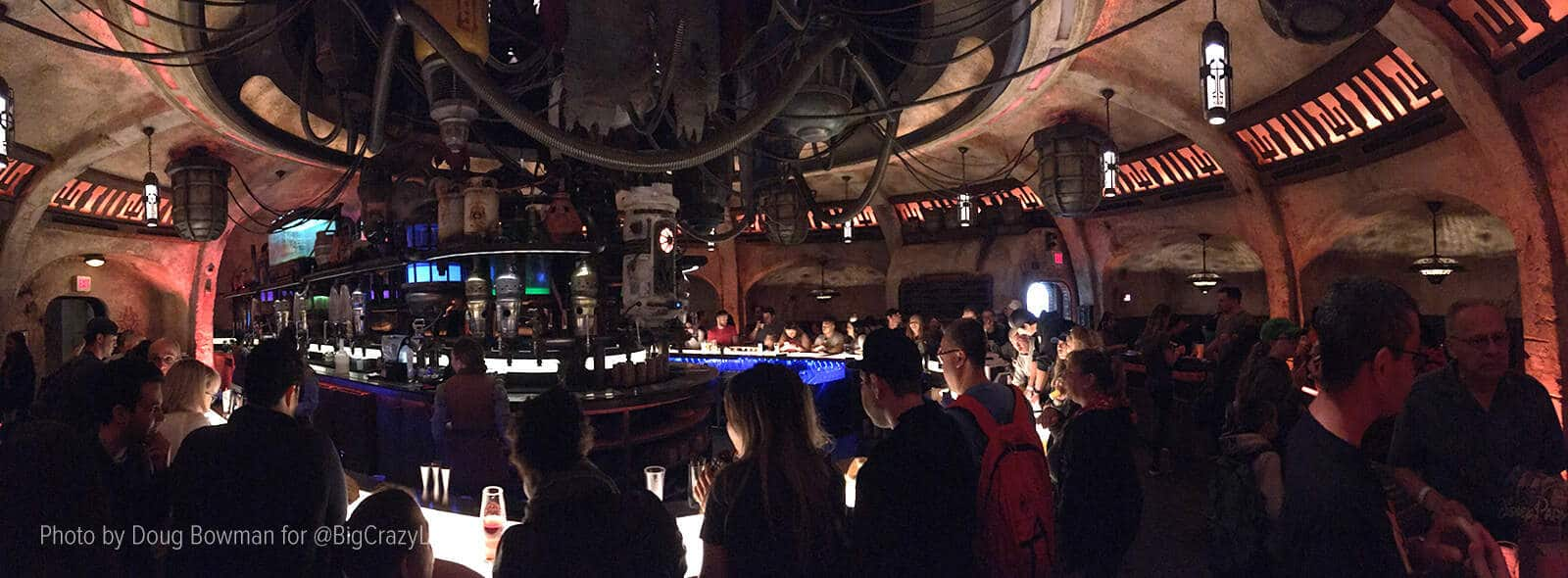 A panoramic shot of the interior of Oga's Cantina