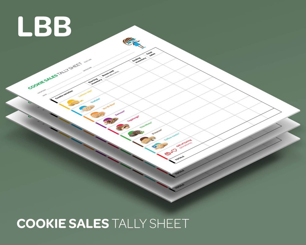 Cookie Sales tally sheets