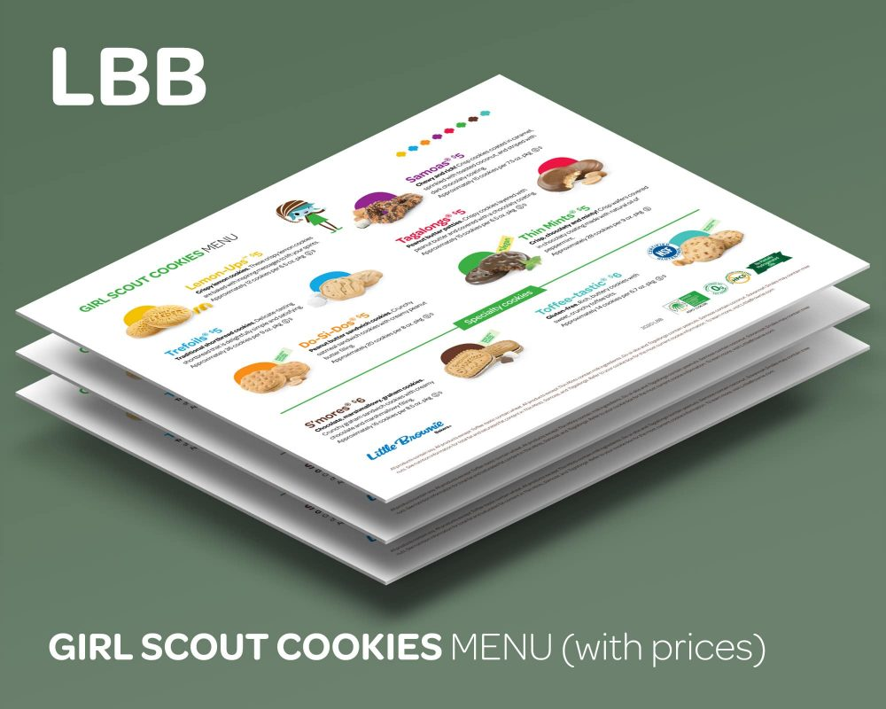Our custom Girl Scout Cookies Menu