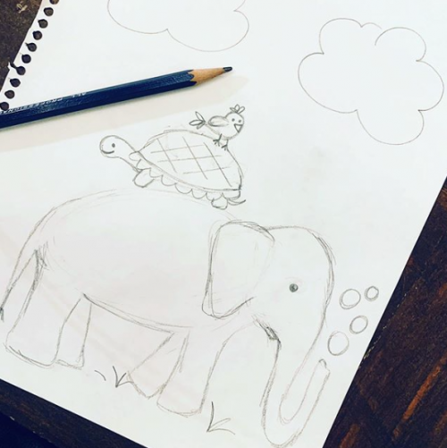 pencil sketch of elephant