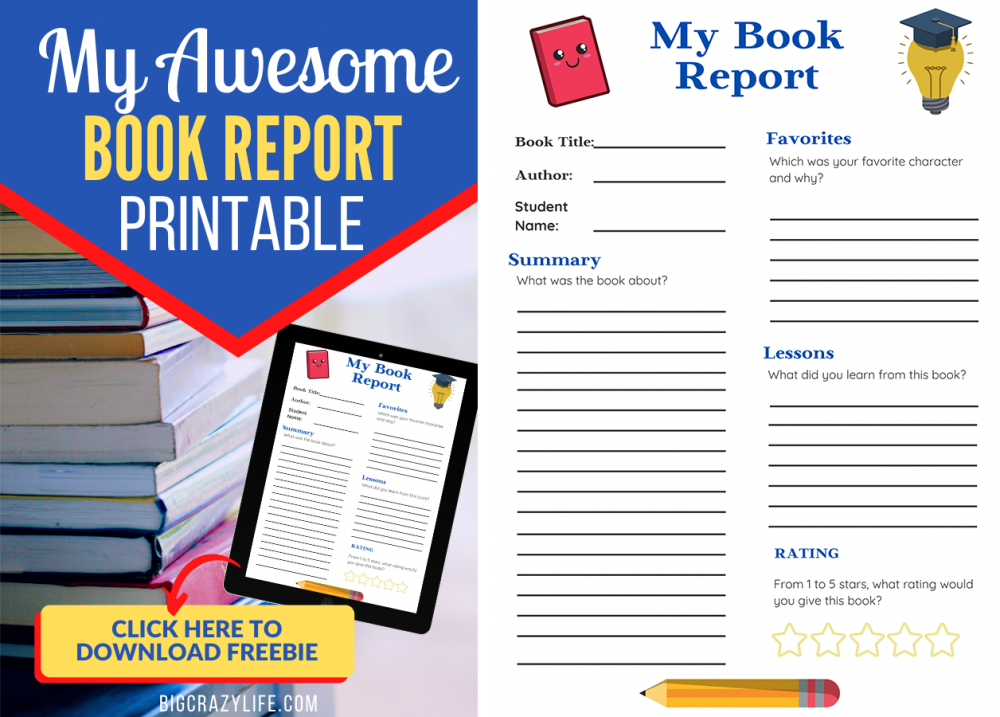 My Awesome Book Report Printable